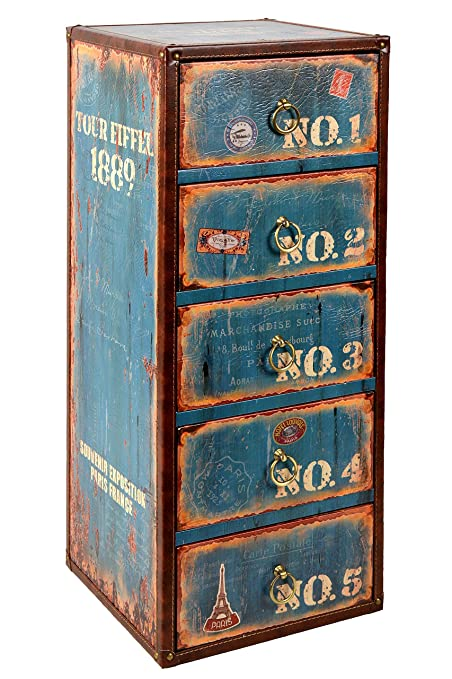 ts-ideen Container estantería cómoda armario de diseño estilo retro shabby industrial, color azúl