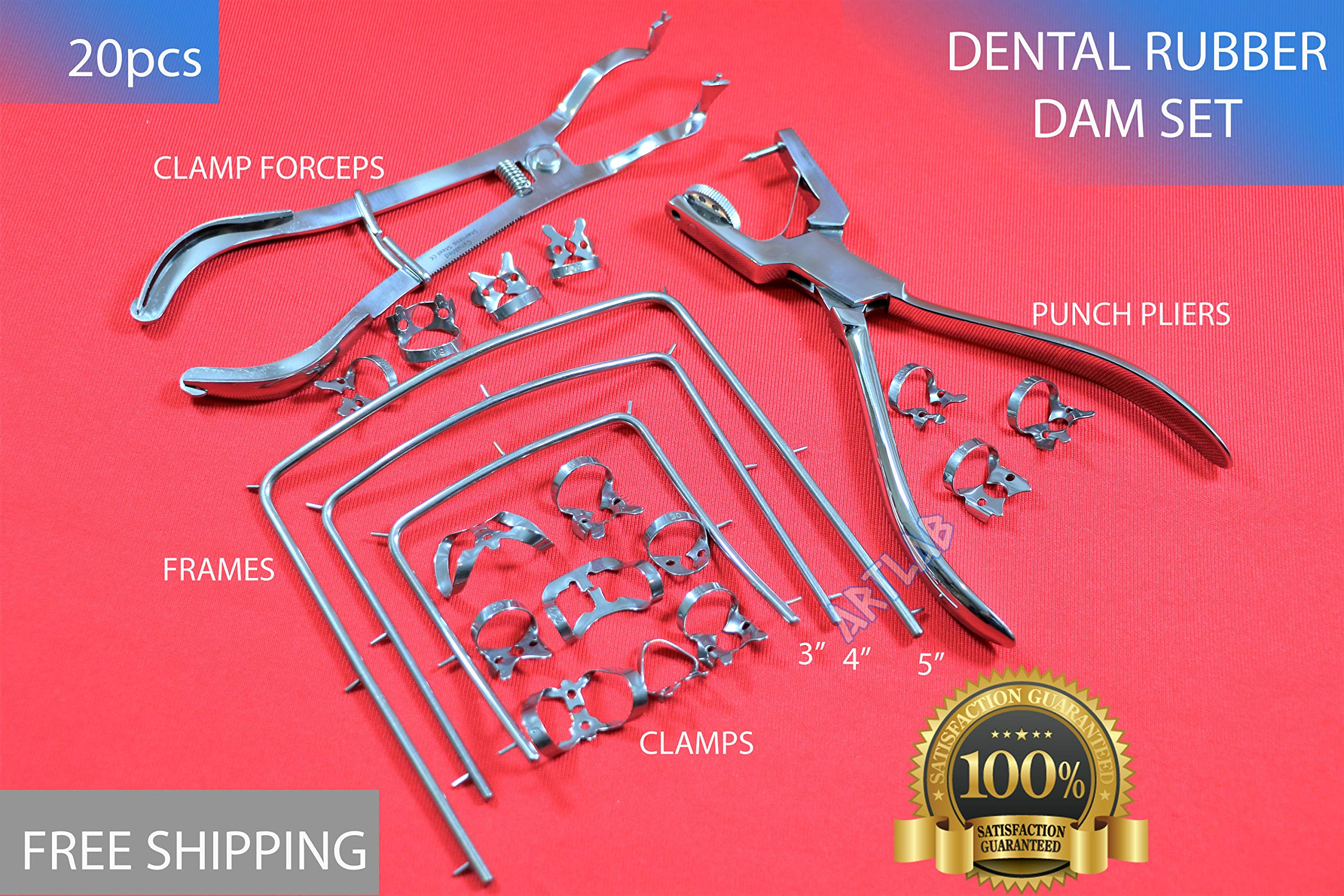 HIGH Grade Stainless Dental Rubber Dam Forceps Clamps + Punch Pliers + 15 Clamps + 3 Frames Sizes 3'',4'',5'' (CYNAMED)