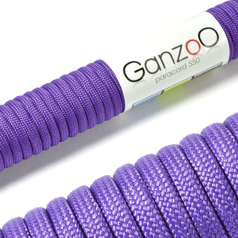 Ganzoo - Cuerda de supervivencia de uso universal, cuerda trenzada de paracord, soporta hasta 250 kg, 31 m, no apta para la escalada, color morado #5011vio