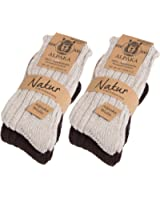 BRUBAKER Mens and Womens Alpaca Wool Socks for the Cold Winter Days - Pack of 4