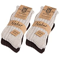 BRUBAKER Unisex Alpaca Wool Socks for the Cold Winter Days - Pack of 4