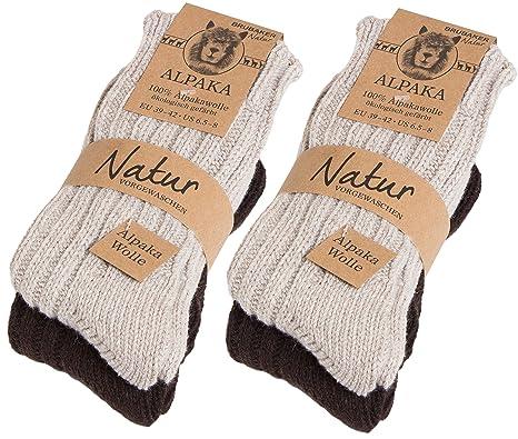 baskets pour pas cher 93780 a2b9d Brubaker Chaussettes tricotées en Alpaga - Lot de 4 Paires - 100% Laine  d'alpaga - Très épaisses et chaudes - Unisexe