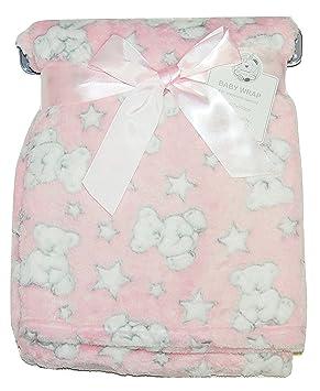 Baby Boy Soft Fleece Wrap Blanket Pram Cot Crib Moses Basket Blue Teddy