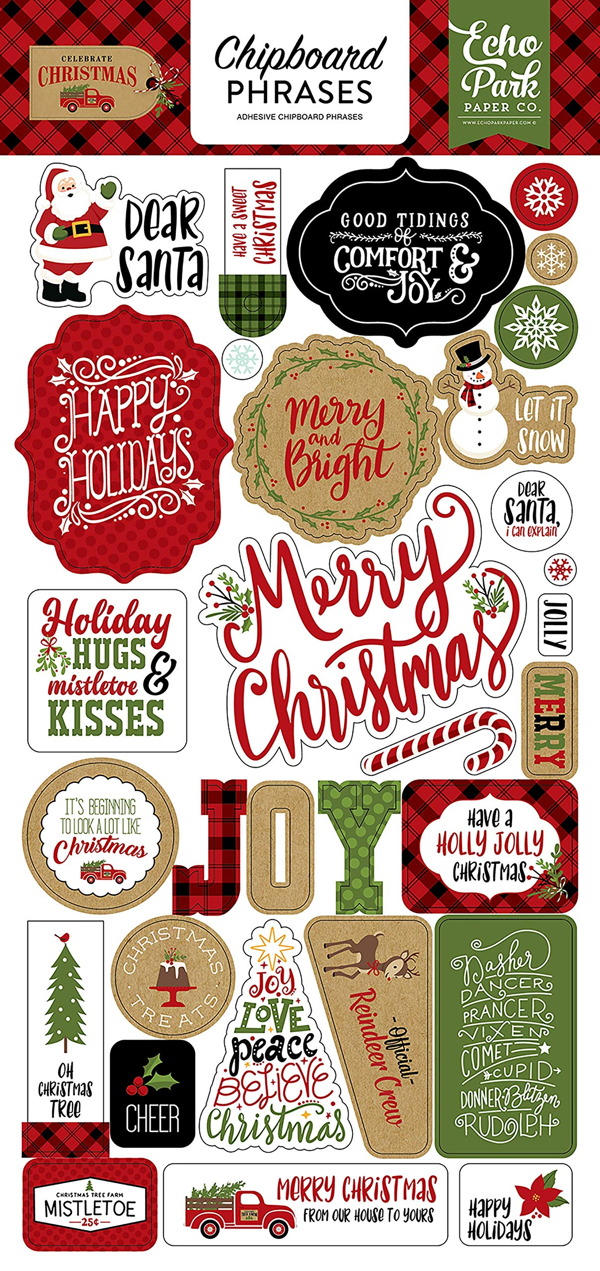 Echo Park Paper Company CCH159022 Celebrate Christmas 6x12 Chipboard Phrases Paper, Red/Green/Tan/Burlap/Black