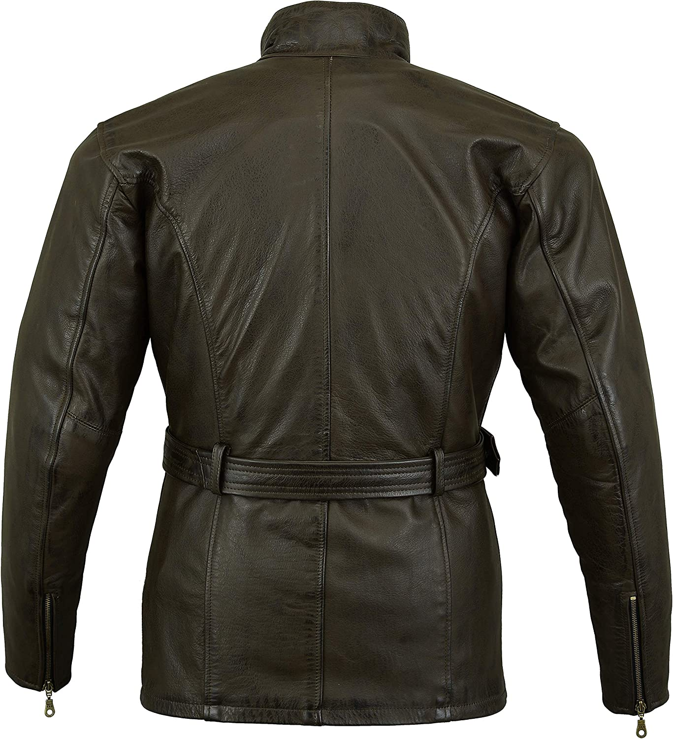Bikers Gear Australia Classic Vintage Style Waxed Trail Blazer Leather Retro Motorcycle Jacket with CE1621-1 5 Piece Removable Armour Medium Black