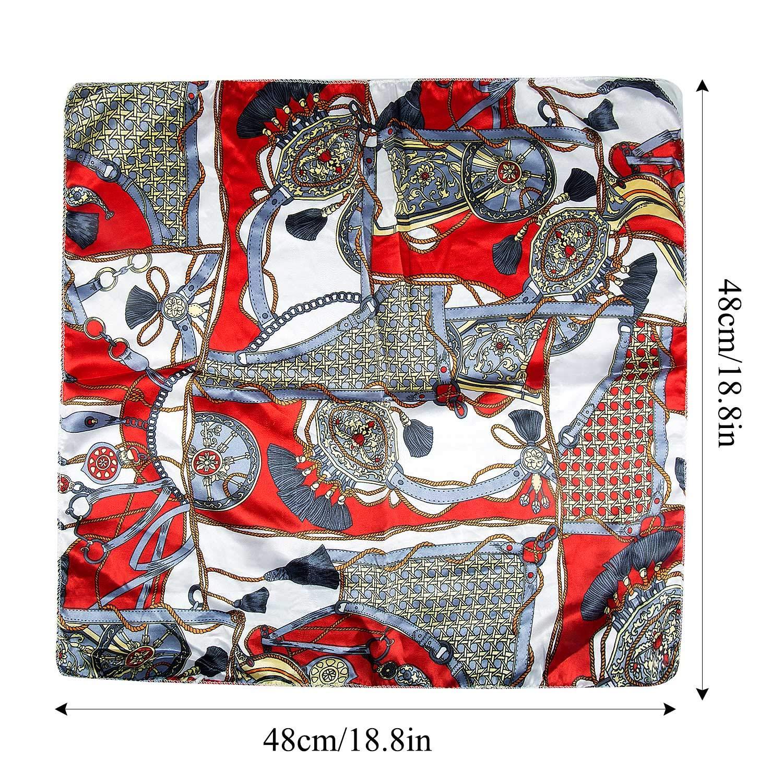 50x50 cm Jolintek 12 Pezzi Bandane Cappelli Sciarpa in Raso Multiuso Sciarpa Sciarpa Fazzoletti da Taschino Foulard di seta Multicolore Bandana Donna
