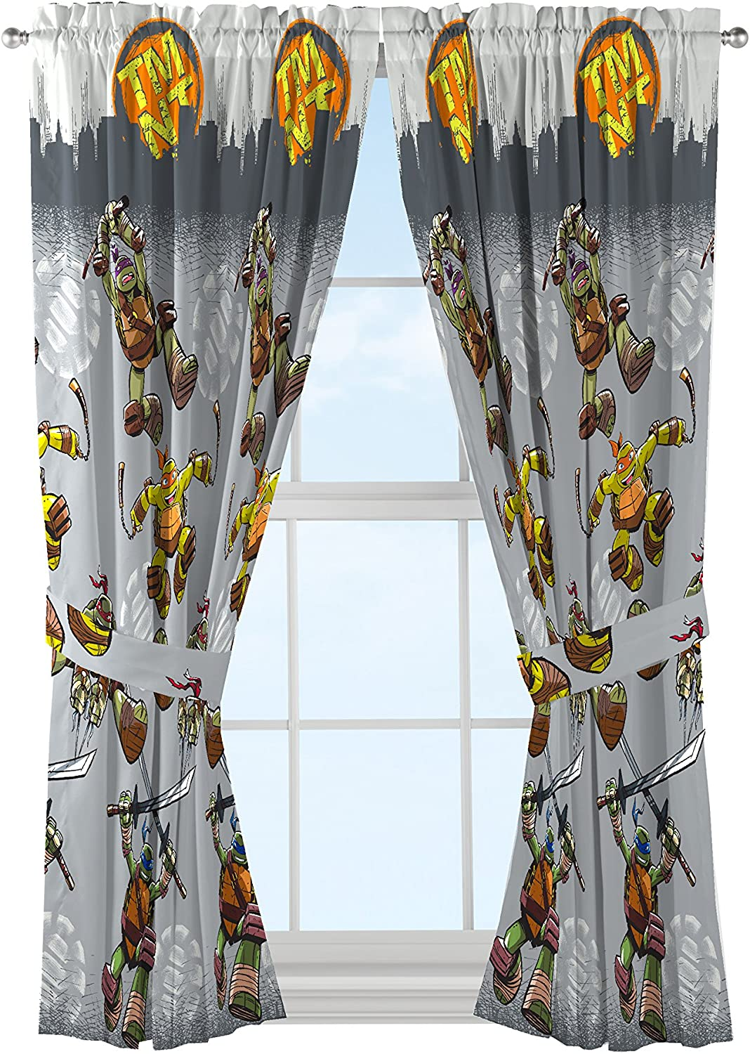Nickelodeon Teenage Mutant Ninja Turtles Cross Hatching Gray Curtains/Drapes 4 Piece Set (2 Panels, 2 Tiebacks)