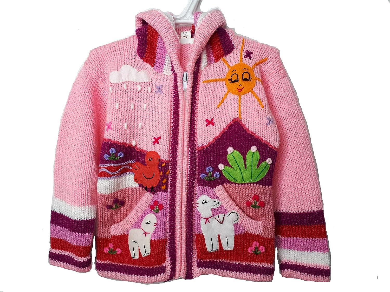 Kids Alpaca Jacket Hoodie Zip Sweater from Peru for Girls Boys or Baby