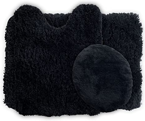 Amazon Com Lavish Home 3 Piece Super Plush Non Slip Bath Mat Rug Set Black Home Kitchen