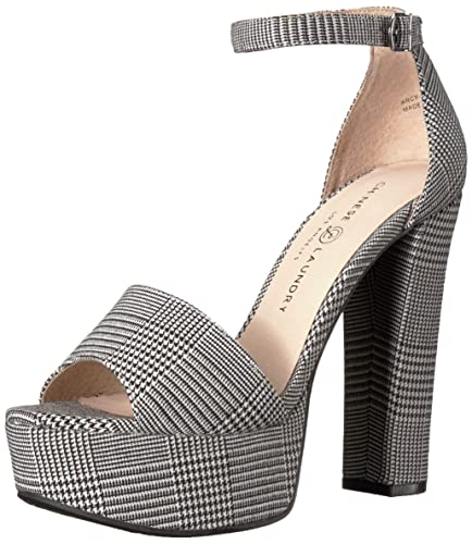 52f4d9249df0 Chinese Laundry Women s Avenue 2 Heeled Sandal Black White Houndstooth 5 ...