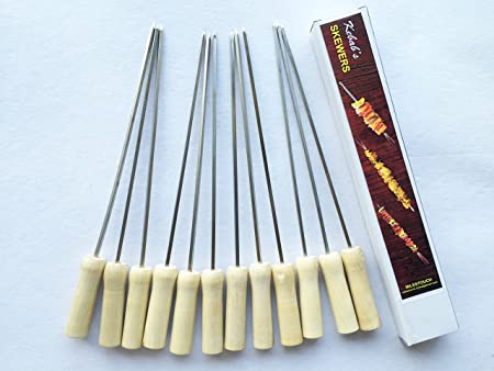 MILESTOUCH - 12 Pcs Set - Stainless Steel Skewers Wood Handle for Tandoor/Grilling - Barbeque -14.5 Inch