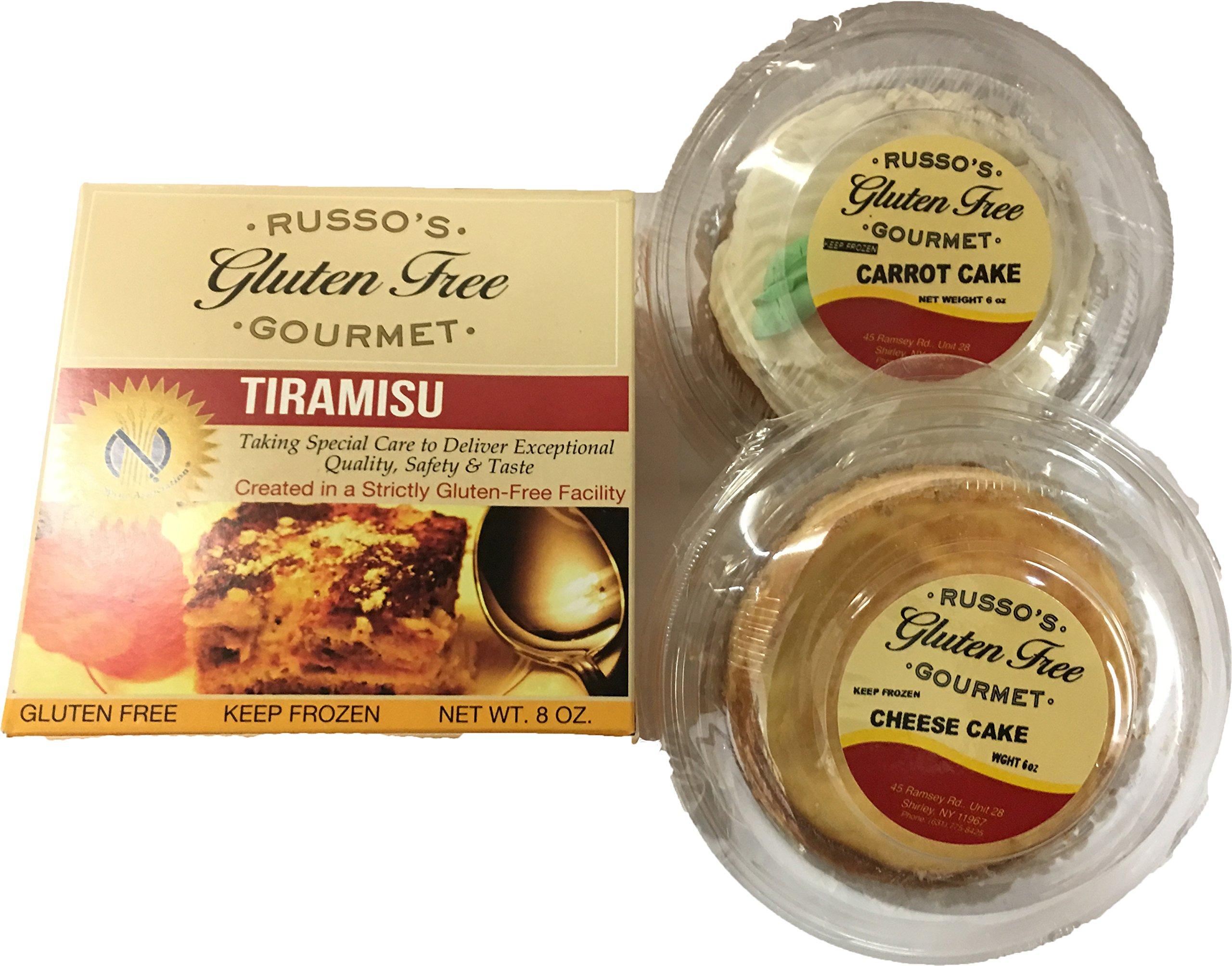 Russo's Gluten Free Dessert Variety (1-Carrot Cake, 1- Cheese Cake, 1- Tiramisu) Frozen!!