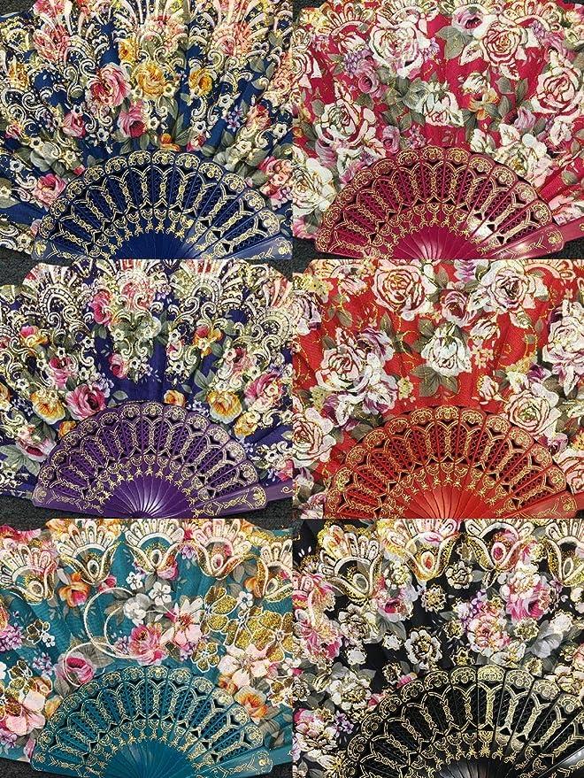 Joblot of 36 pcs Flower Design Spanish Folding Hand Fan NEW Wholesale