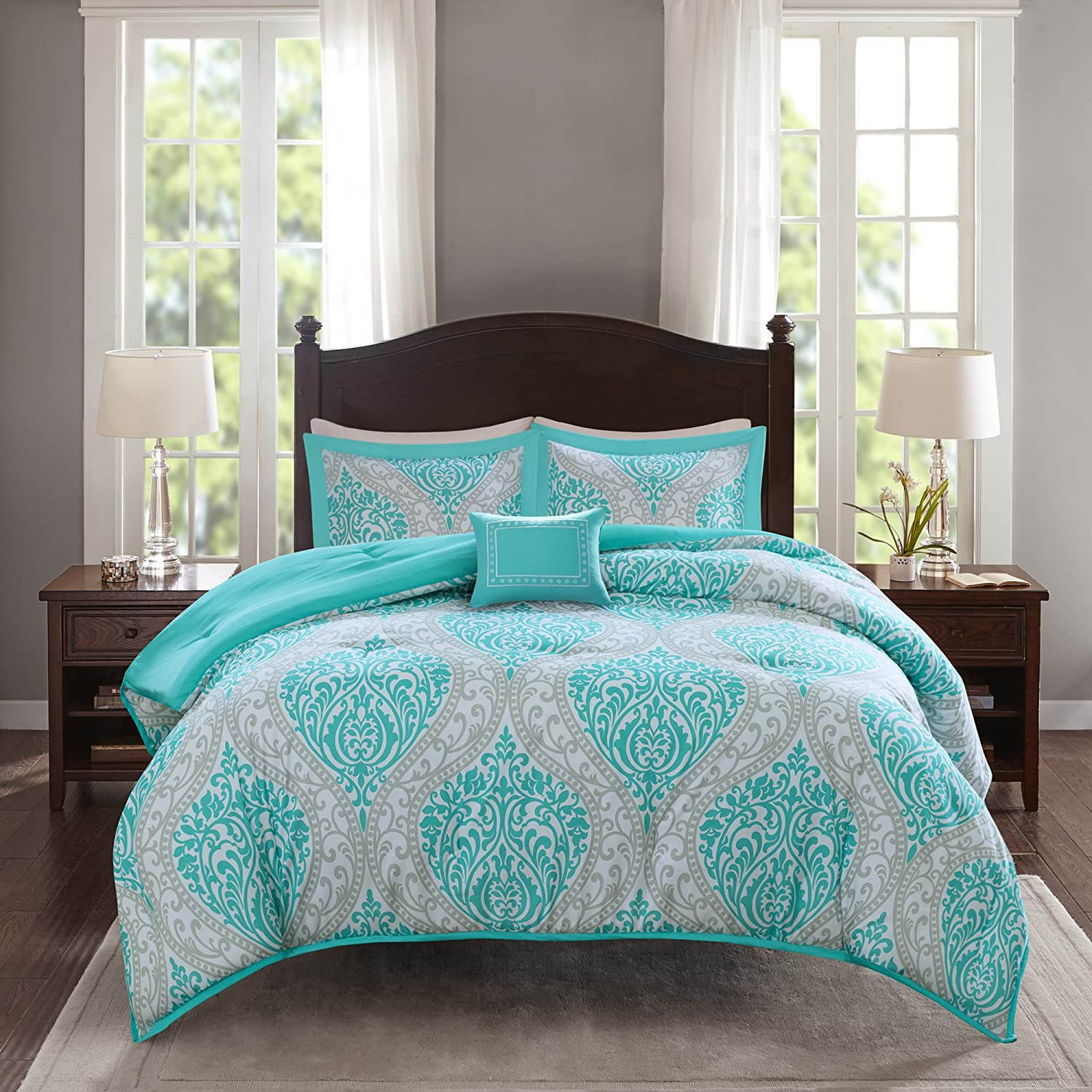 "Comfort Spaces Comforter Set Ultra Soft Printed Pattern Hypoallergenic Bedding, Full/Queen(90""x90""), Coco Teal Damask"