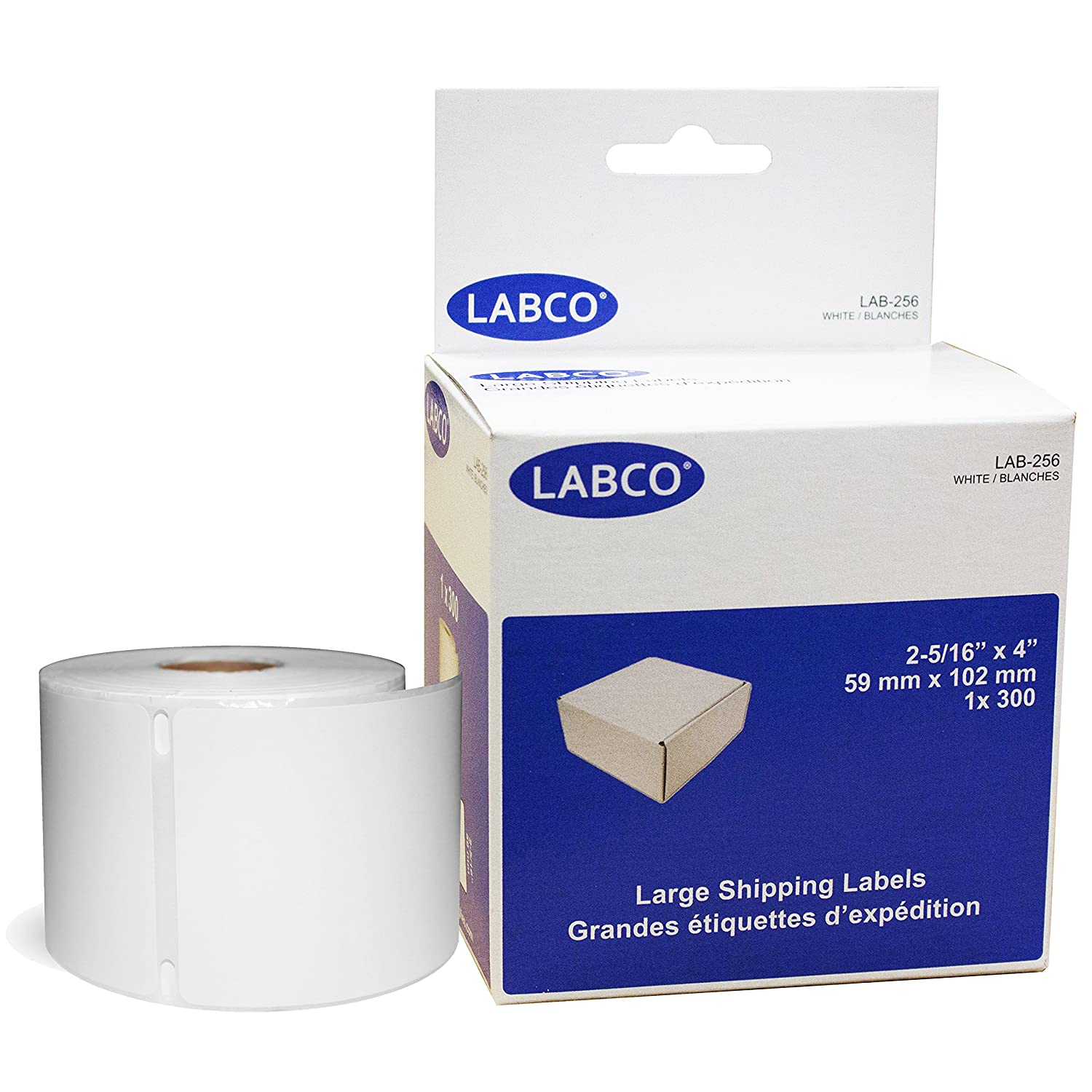 LABCO LAB-256 Thermal Large Shipping Labels 2-5/16 x 4 300 Labels White (30256)