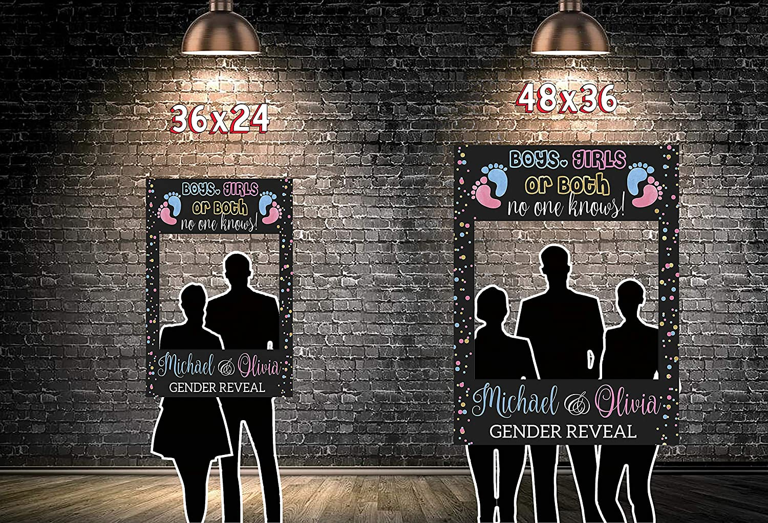 Boys or Girls Baby Reveal Party Gender Reveal Party Gender Reveal Photo Booth Frame Twin Baby Shower Photo Prop Twin Babies Gender Reveal Handmade DIY Party Supply Photo Booth Size 36x24,48x36