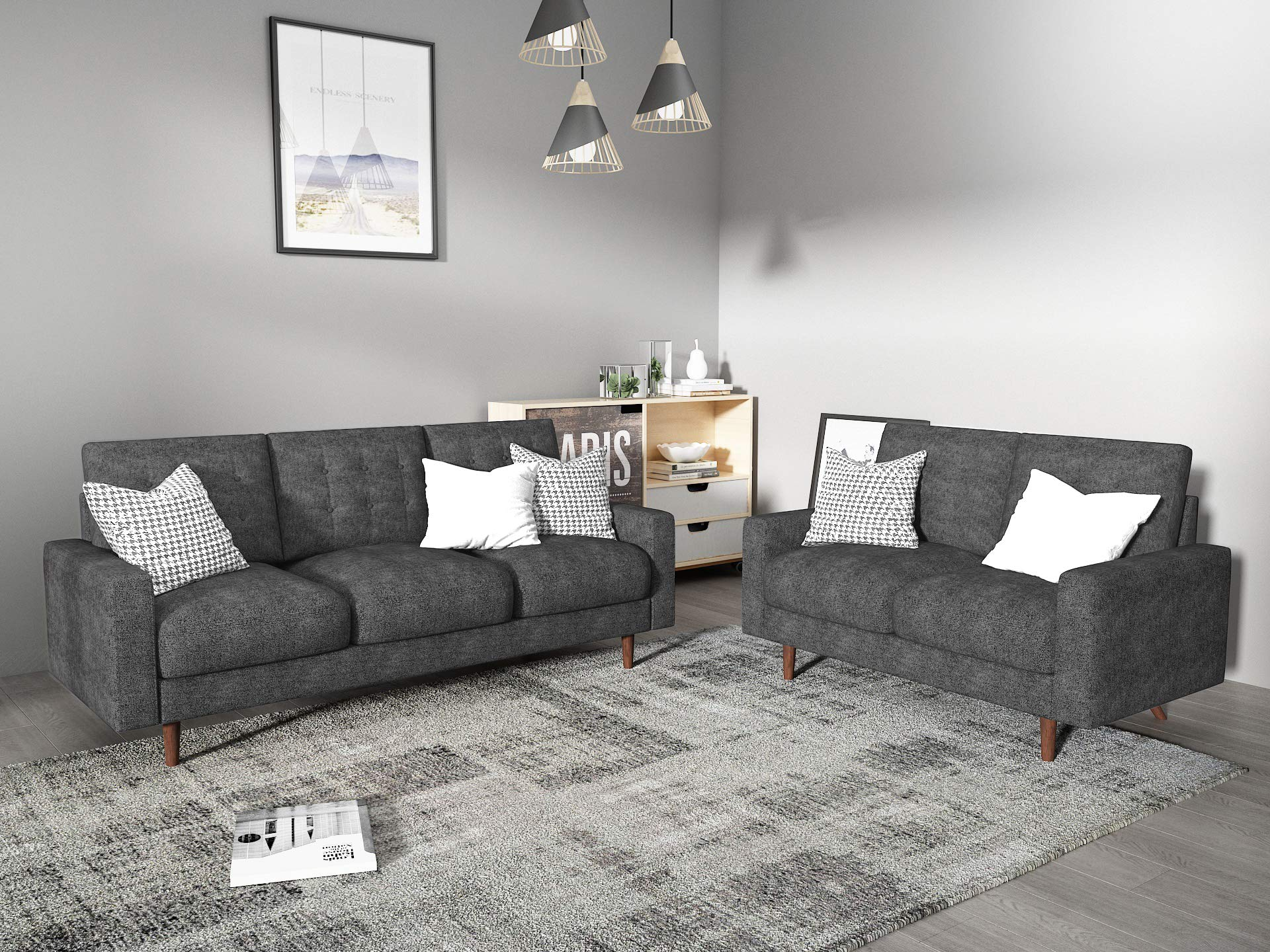 Container Furniture Direct Modern Tufted Velvet Living Room Sofa Set, 2 Piece, Gray by Container Furniture Direct