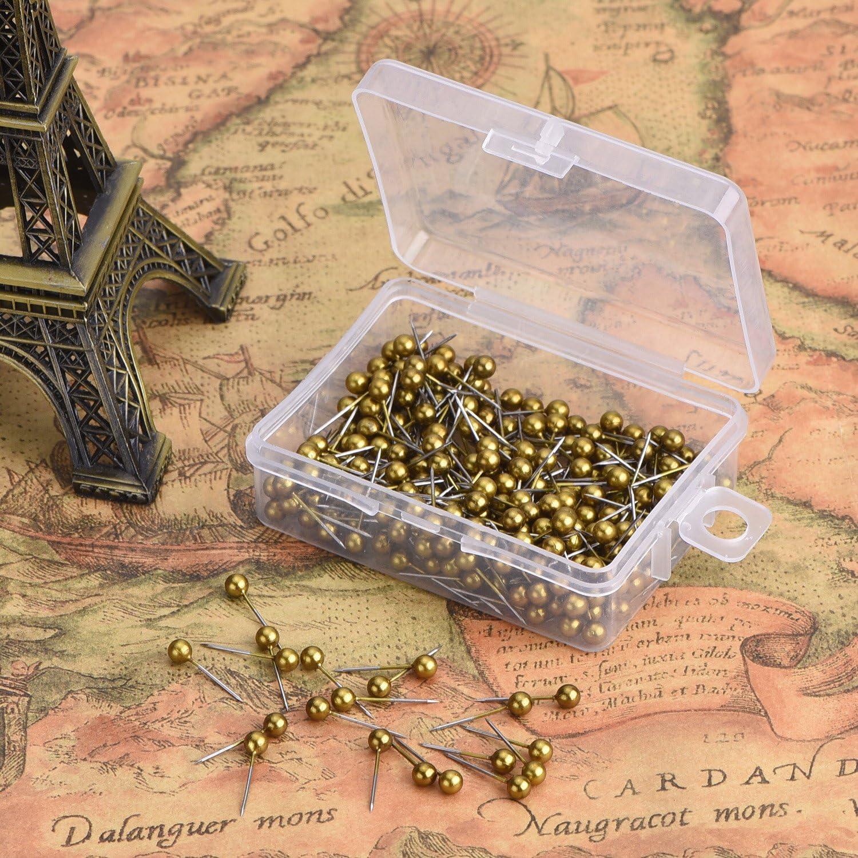 R/étro Or 400 Pack Carte de Voyage Push Pins avec 1//8 Pouces Point de T/ête Et Dacier