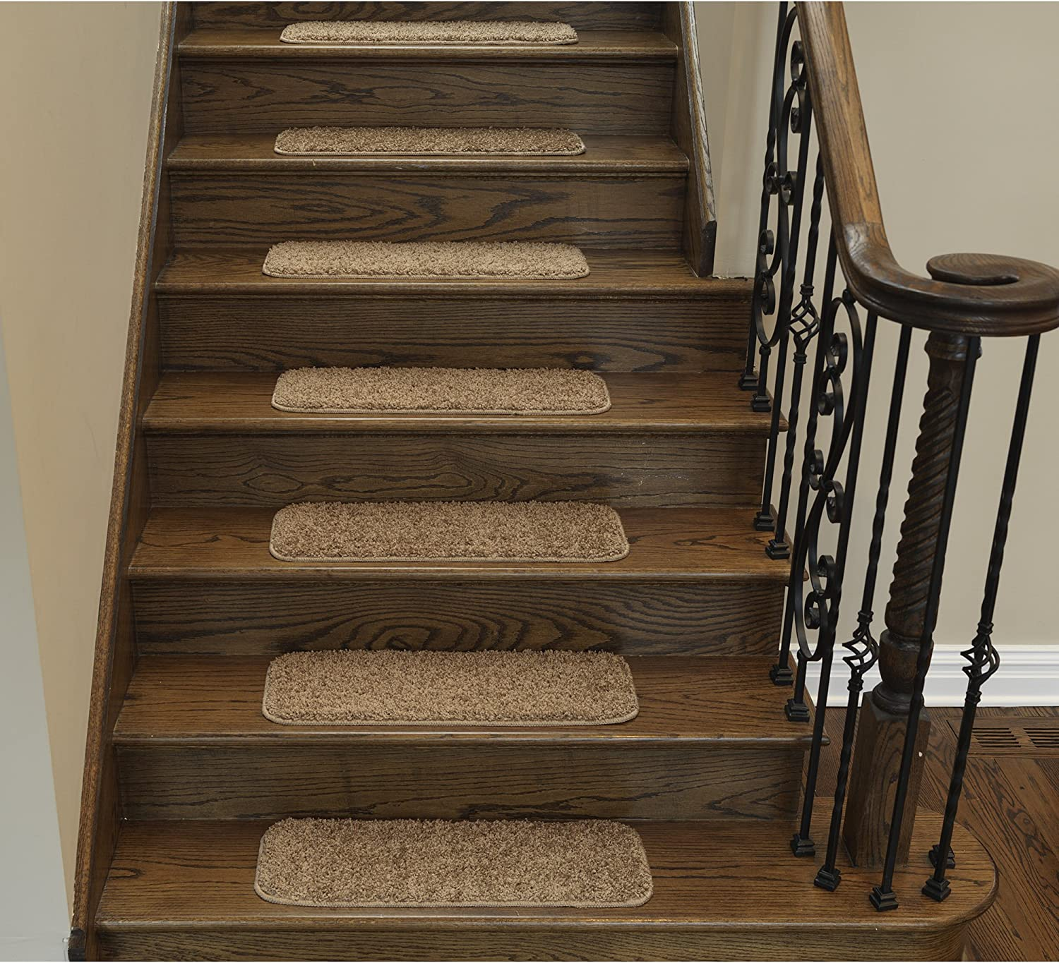 """Sweethome Stores Non-Slip Shag Carpet Stair Treads, (9""""X26"""")-5 Pack- Camel Solid"""