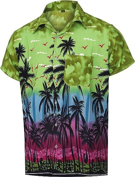 Virgin Crafts Camicia Hawaiiana da Uomo Stampa sul Petto Camicia Aloha Beach Regular Fit