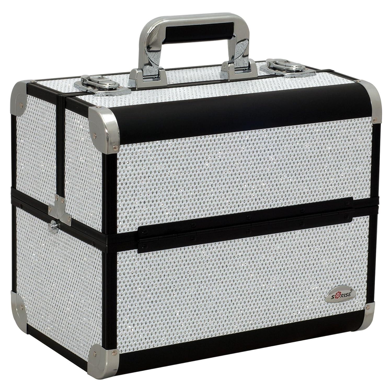 Sunrise c3029 Professional Makeup Cosmetic Train Large Case Organizer Storage with 6 Trays Dividers Krystal White C3029KLWB