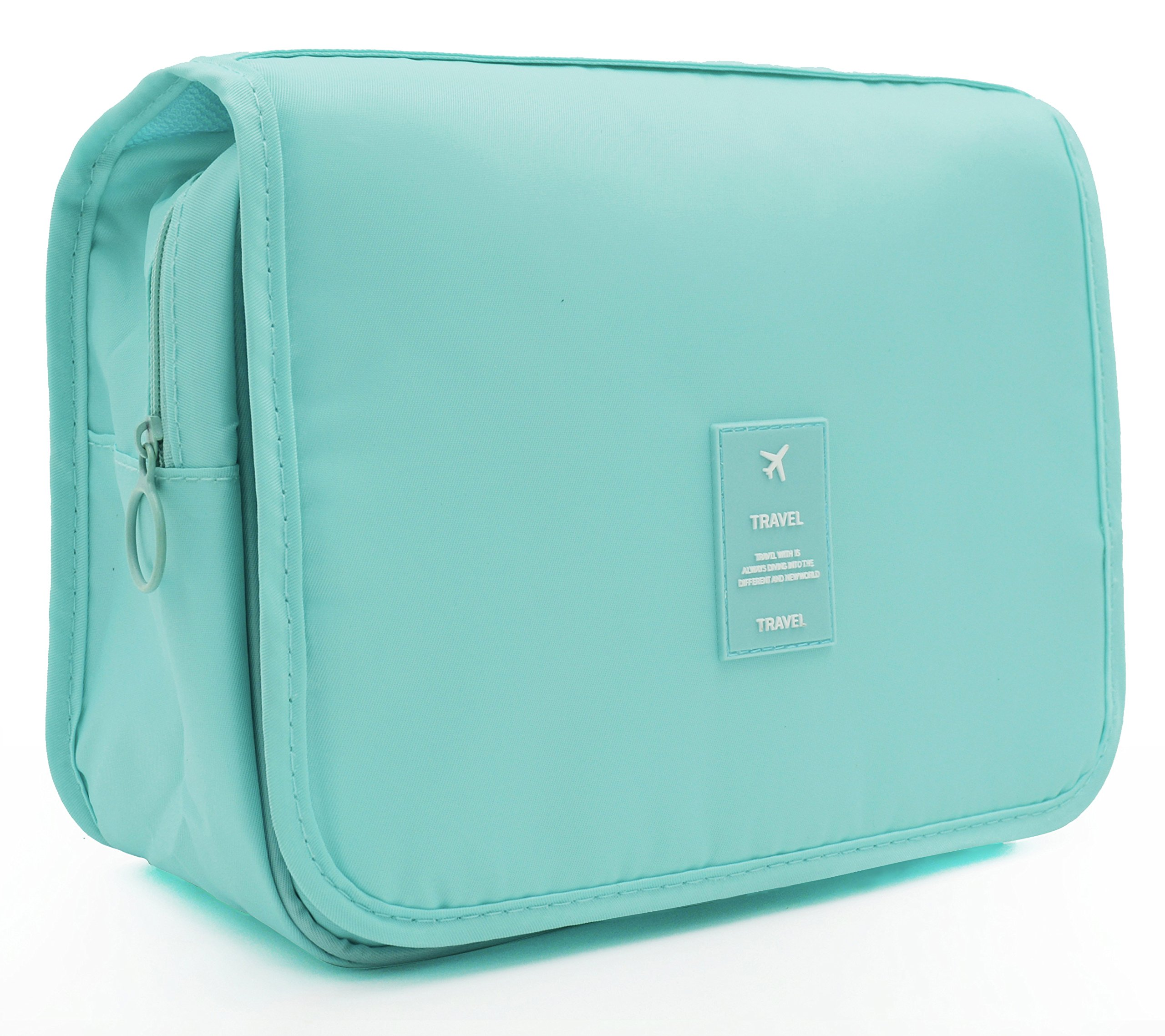 Portable Hanging Travel Toiletry Bag Waterproof Makeup Organizer Cosmetic Bag Pouch For Women Girl (light blue)