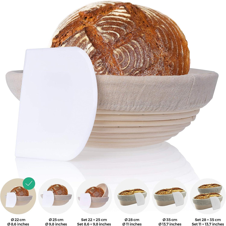 Raschietto per la Pasta Cestino di fermentazione Cestino da lievitazione incl Il Cestino di fermentazione Ideale per la Pasta di Pane in Rattan Naturale con Inserto in Lino