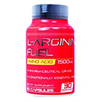 L-arginine Fuel - Pure L-Arginine 1,500 mg Nitric Oxide Booster* Pharmaceutical Grade Promotes Nitric Oxide Synthesis Improves Stamina, Muscle Strength, Vascularity & Restores Energy 60 caps Made USA