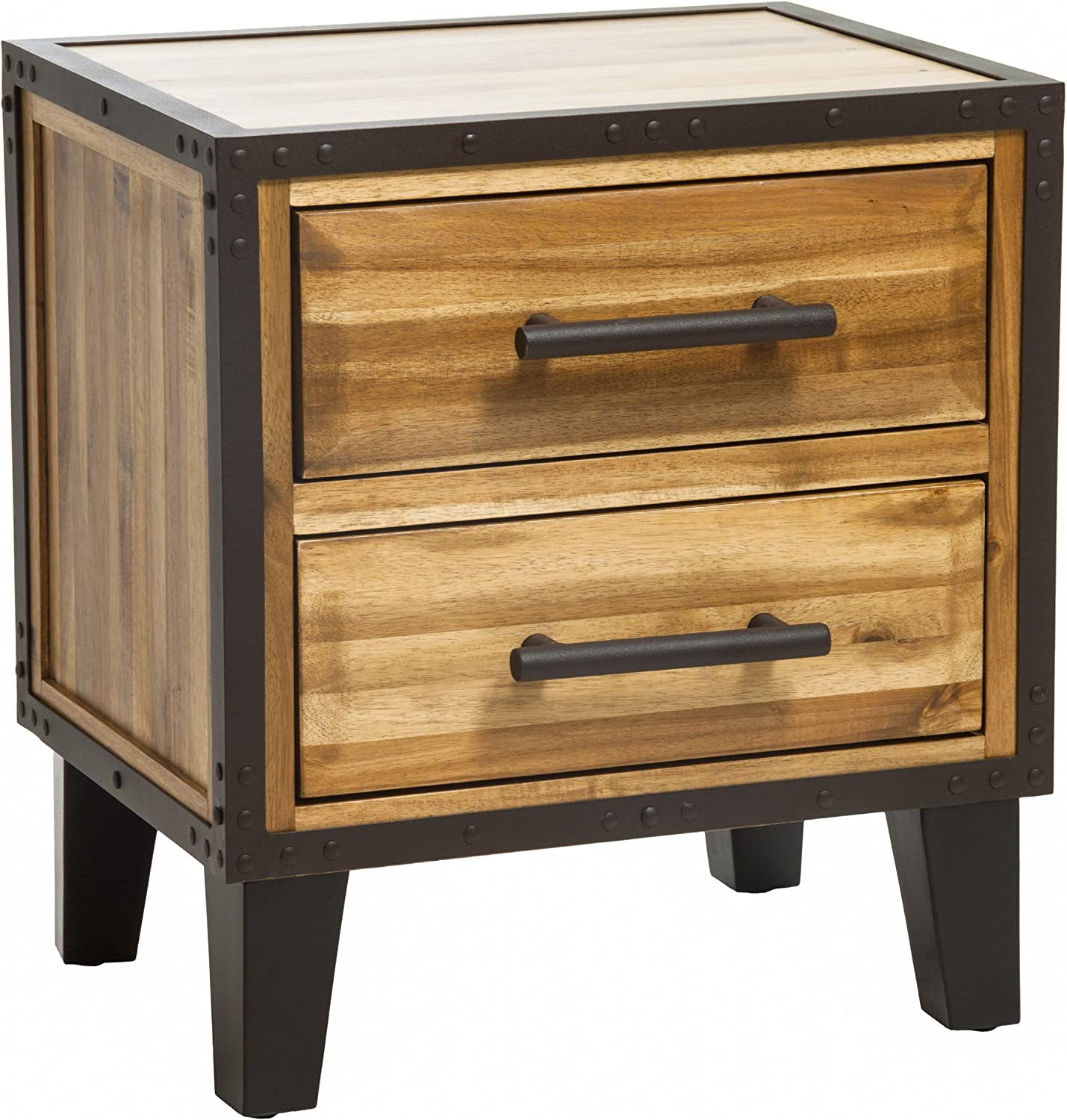 Christopher Knight Home 295304 Glendora Natural Stain Solid Wood Two Drawer Nightstand, Brown