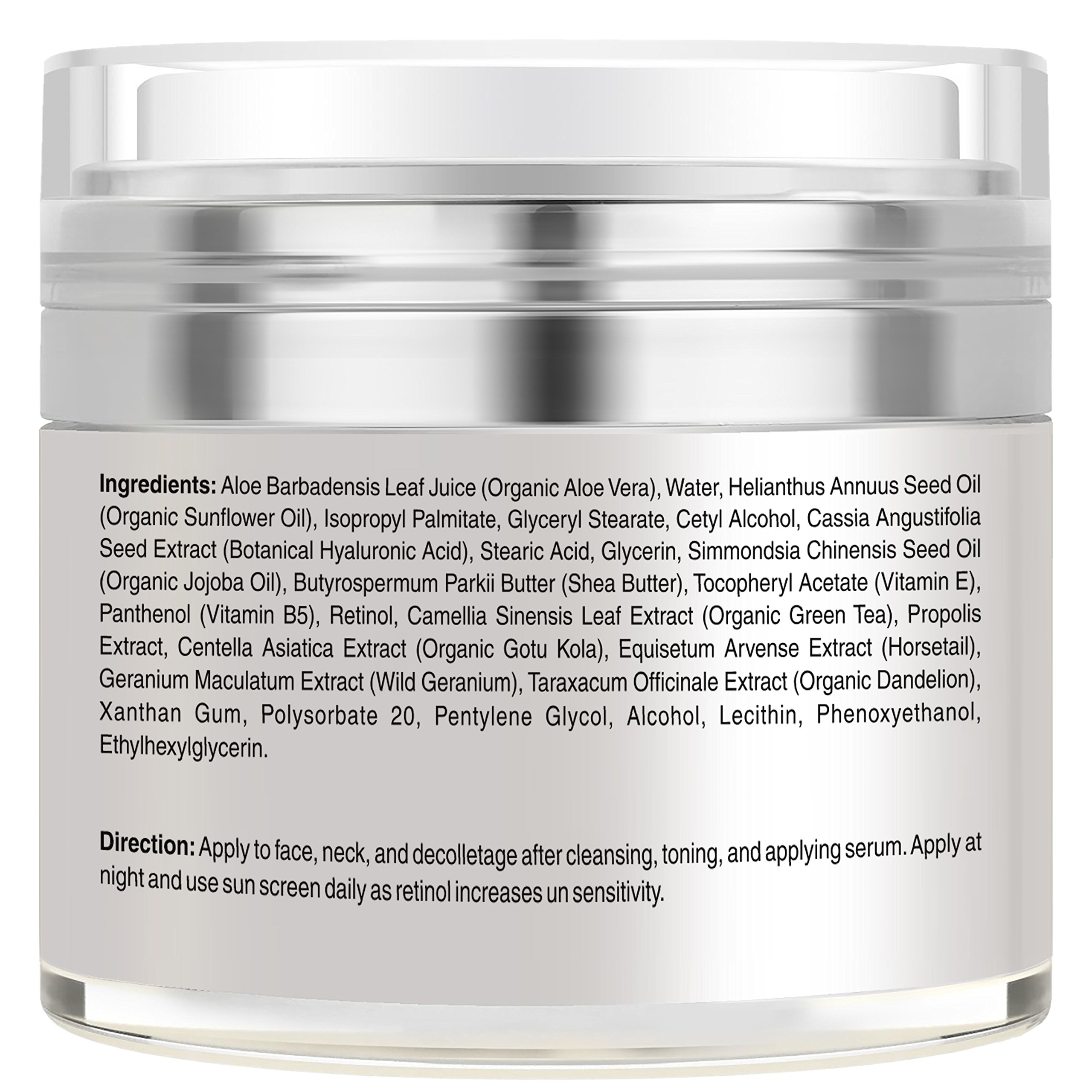 Retinol Moisturizer Cream for Face and Eye Area - Made in USA - with Hyaluronic Acid, Vitamin E - Best Day and Night Anti Aging Formula to Reduce Wrinkles, Fine Lines & Even Skin Tone. by FineVine (Image #2)