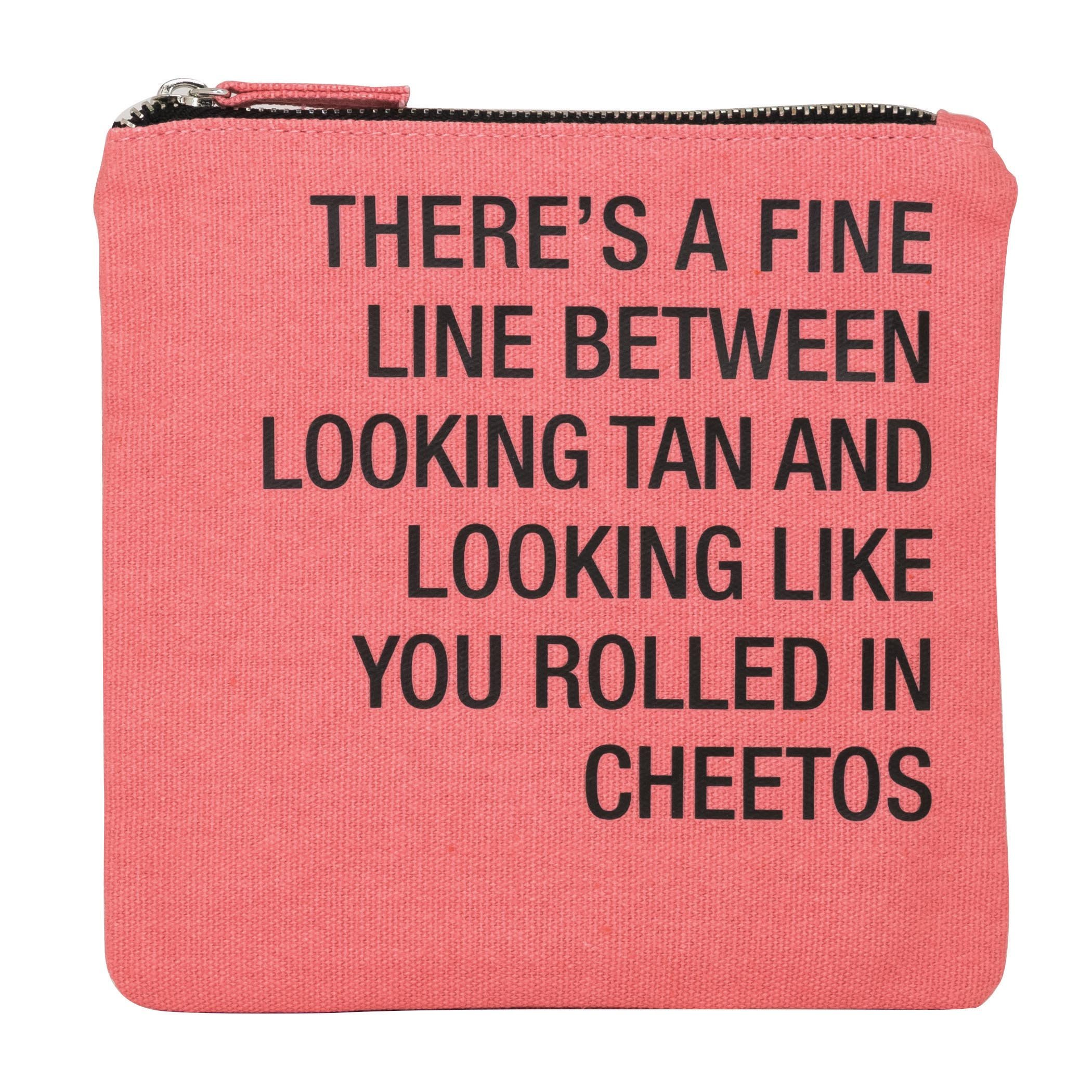 About Face Designs Rolled in Cheetos Cosmetic Bag, 6.75'' x 6.75'', Peach