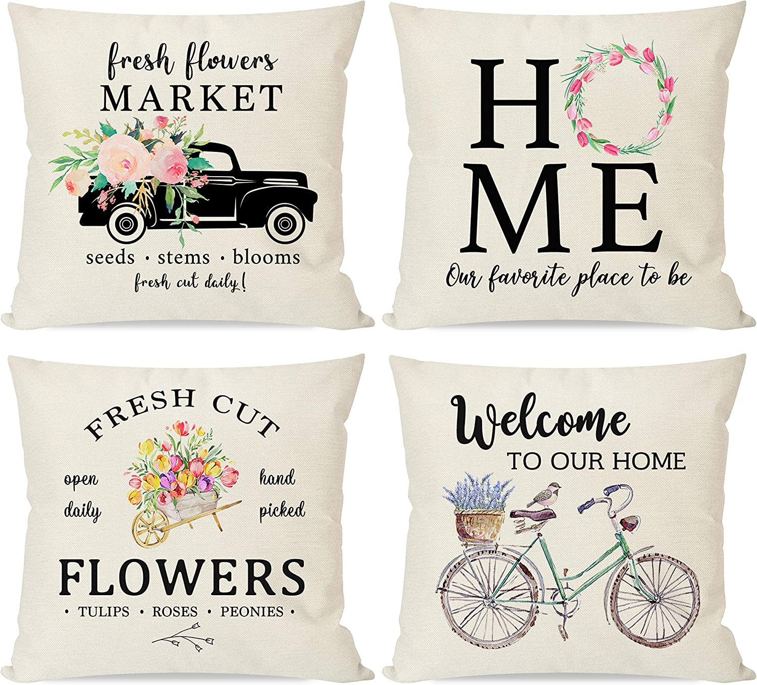 PANDICORN Set of 4 Farmhouse Spring Pillow Covers 18x18 for Home Décor, Country Bicycle Truck Bird with Fresh Flowers, Rustic Welcome Throw Pillow Cases for Couch Outdoor Porch Patio