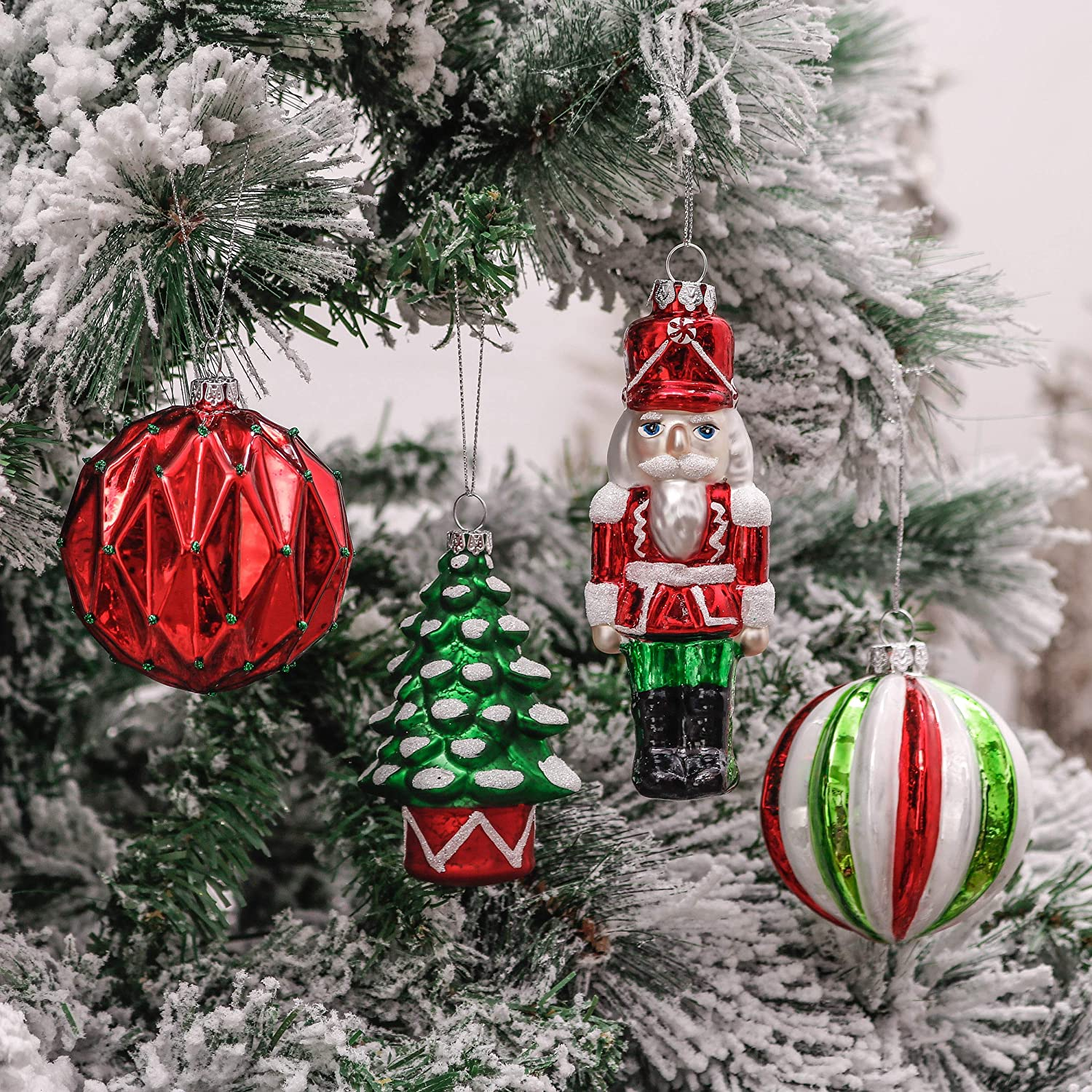 Valery Madelyn 10ct Classic Collection Splendor Glass Christmas Ball Ornaments Red,Green and White,Themed with Tree Skirt Not Included