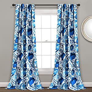 "Lush Decor (Pair 84"" x 52"", Blue Poppy Garden Curtains Room Darkening Window Panel Set for Living, Dining, Bedroom, L"