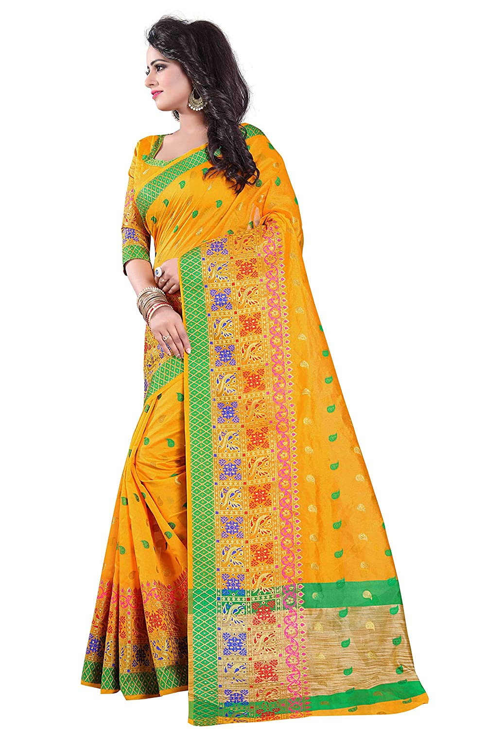 b00a6160d Vedant Vastram Women s Poly Silk Printed Saree With Blouse Piece (Yellow  Colour)  Amazon.in  Clothing   Accessories