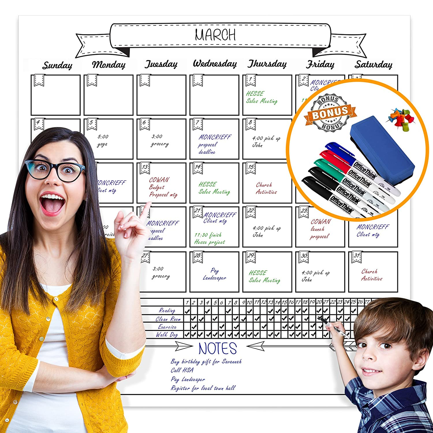 Jumbo Dry Erase Laminated Wall Calendar, Huge 36-Inch by 36-Inch Size, Monthly Planner for Home Office Classroom, Goal Tracker, Reusable PET Film, Never Folded, Bonus 5 Markers, 8 Tacks, 1 Eraser