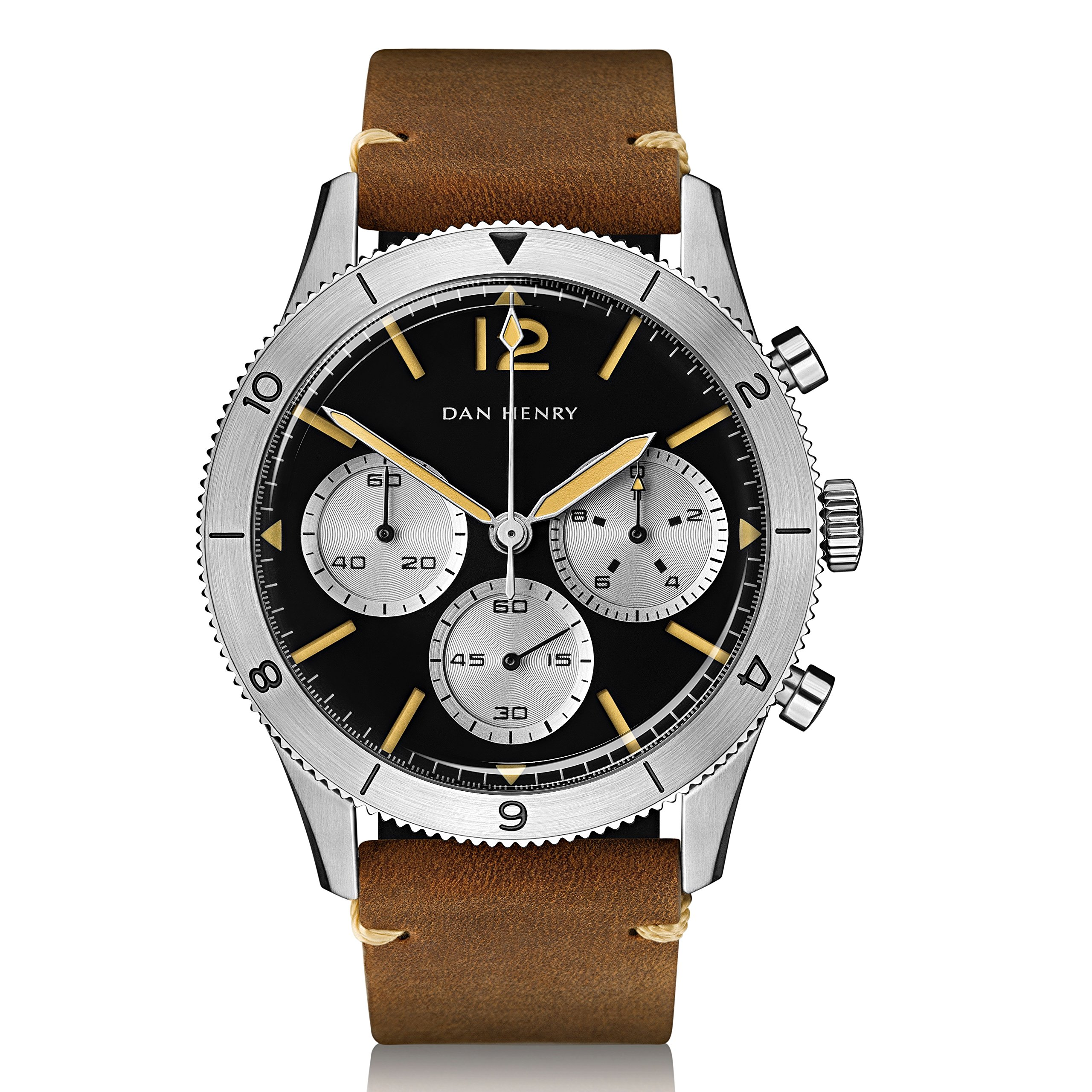 Dan Henry 1963 Pilot Chronograph, Sandwich Dial with Silver GMT Bezel, Limited Edition, 42.5mm Stainless Steel Case, Brown Italian Leather Strap + Black Nato Strap by Dan Henry