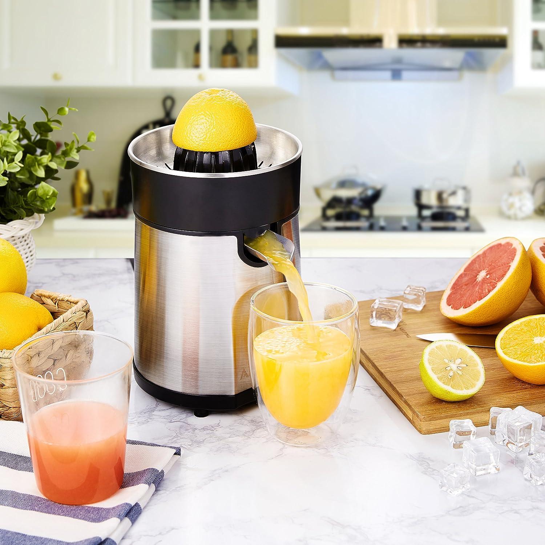 Aicok: exprimidor eléctrico de acero inoxidable, 85 W, para cítricos: naranja, kiwi... 2 conos y surtidor antigoteo, filtro sin BPA, colores plata y negro: ...