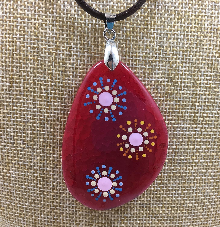 El Mundo de Lúa by Anamae - Collar Mujer Piedra Roja, Pintado Artesanal Círculos Sol Mandala con Puntos