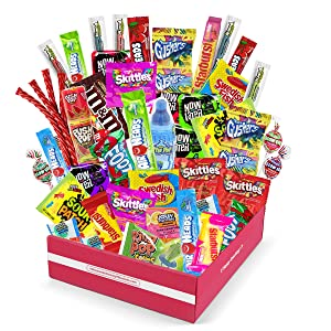 Bite Sized Candy Care Package - (50 count) A Sampler of Skittles, Sour Patch Kids, Starburst, M&M's, Twizzlers, Airheads, and More! Great for Movie Night, Sleepovers and Goodie Bags!