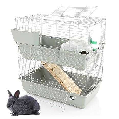 Cozy Pet Jaula de conejo y cobaya, 2 niveles, 80 cm, apta para ...