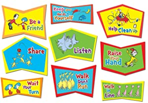 Eureka Dr. Seuss Classroom Rules Back to School Bulletin Board Decorations, 24 x 17 x 0 inches, 9pc
