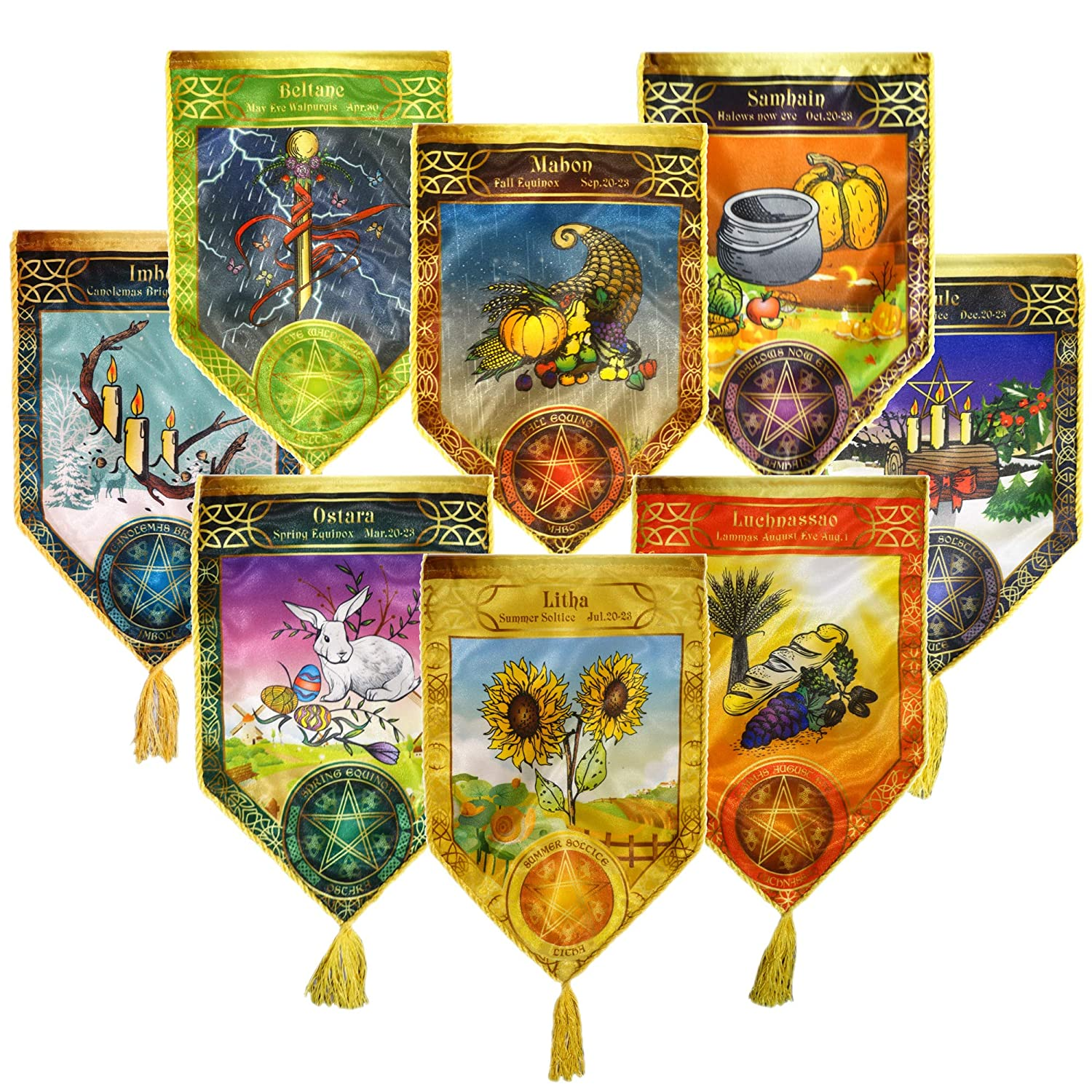 a Set of 8 Pendants Wizard Cloth Pennants Series Wheel of The Year