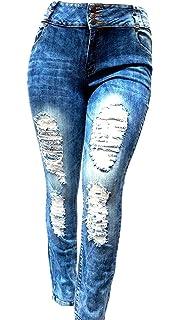 af18ba95eb6 SLS Women s Plus Size Stretch Distressed Ripped Blue Skinny Denim Jeans  Pants