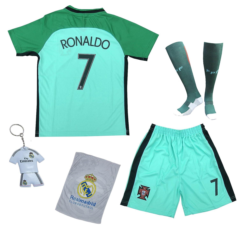 premium selection e7fd5 61690 KID BOX 2018 Portugal Cristiano Ronaldo #7 Away Green Kids Soccer Football  Jersey Gift Set Youth Sizes
