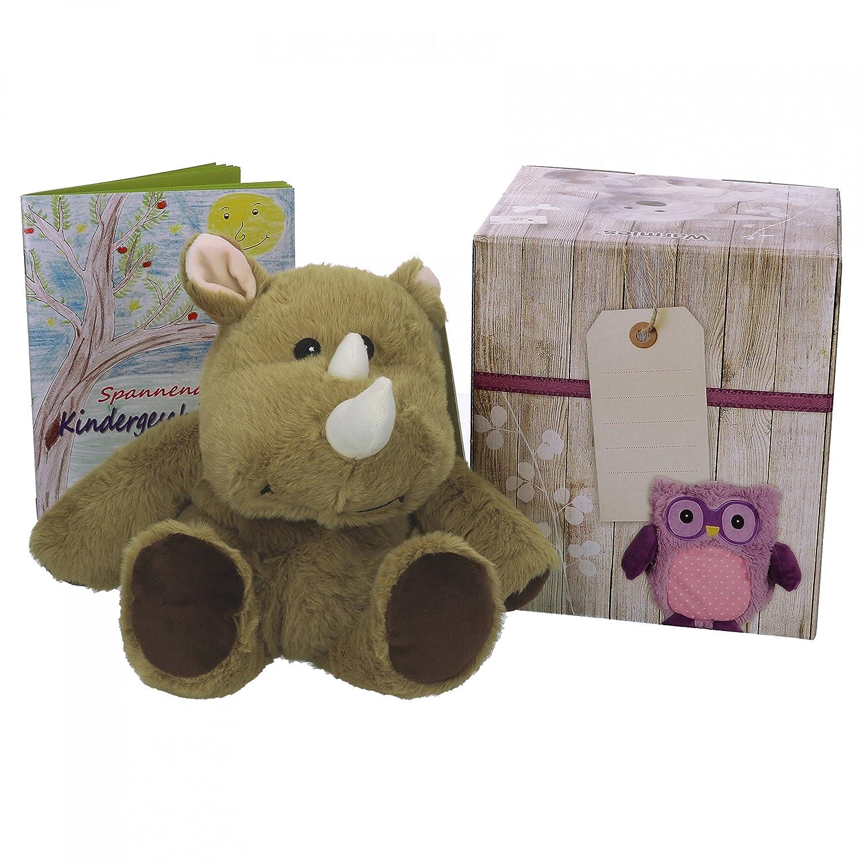 Warmies Geschenkset Hase Bunny, Kuscheltier, Wärmestofftier mit Lavendelduft, Wärmekissen + edle Geschenkverpackung + Büchlein mit spannenden Kindergeschichten MamboCat