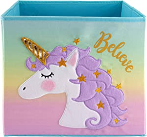 LOVELY LITTLE THINGS Unicorn Storage Bins Foldable - Toy Box Collapsible Cube - Boxes for Shelves - Storage Box Decorative - Kids Toys Organizer - Rainbow Container (Purple)