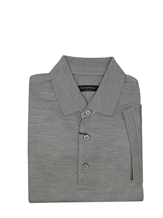 44246aed7b Amazon.com: ERMENEGILDO ZEGNA Italy Gray 100% Silk Short Sleeve Polo ...