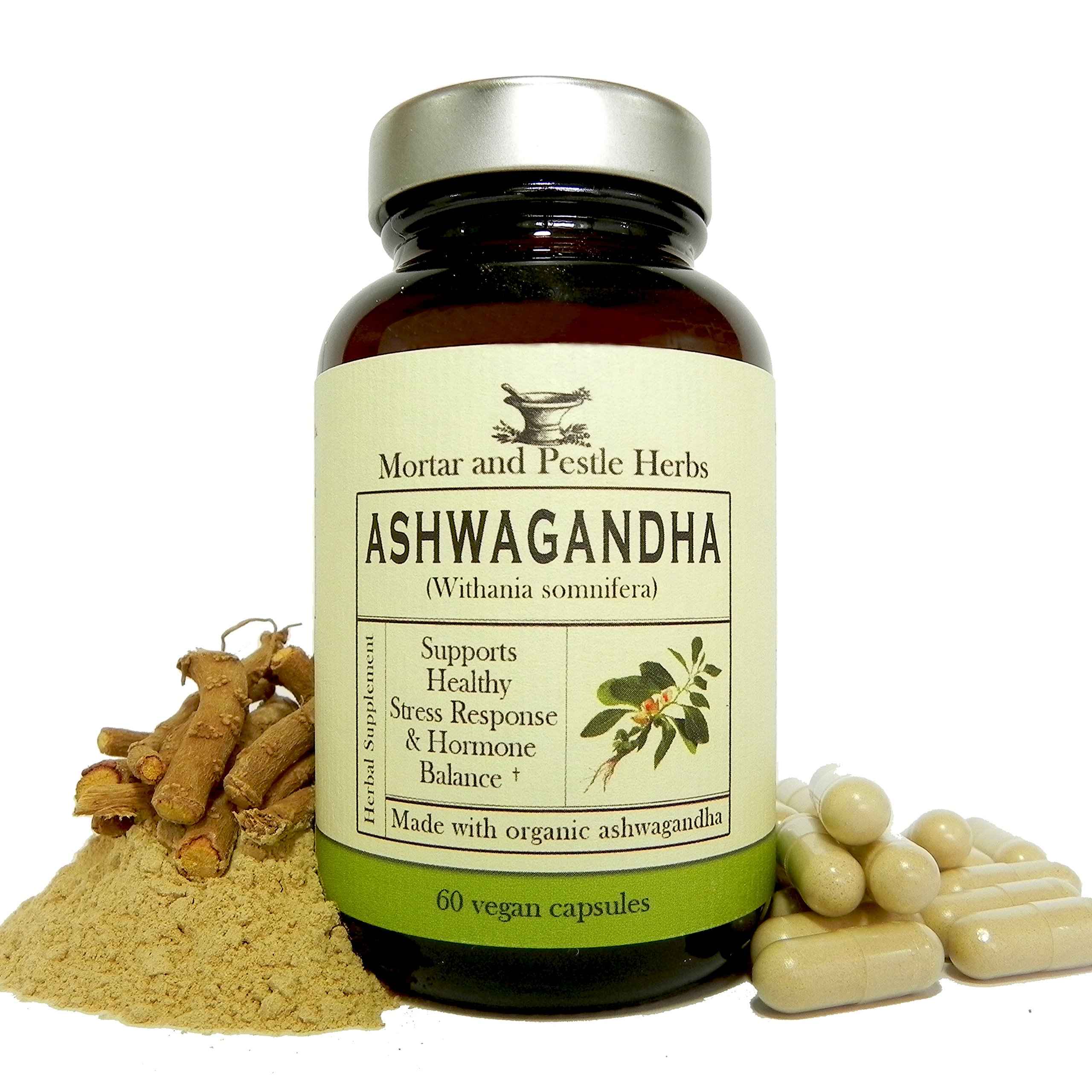 Ashwagandha Herbal Supplement – Extra Strength Ashwagandha Extract, Pure Organic Ashwagandha Root Powder with BioPerine Black Pepper - 60 Vegan Capsules - Made in USA