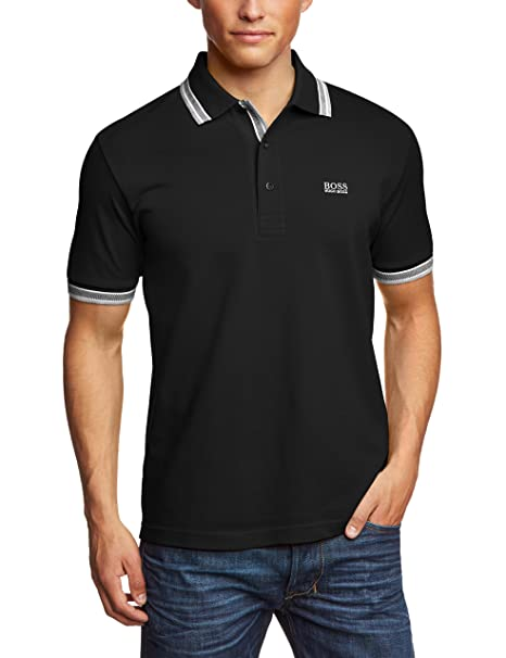 Amazon.com  Hugo Boss Green Paddy Modern Fit Pique Black Polo  Clothing 98a96022d61